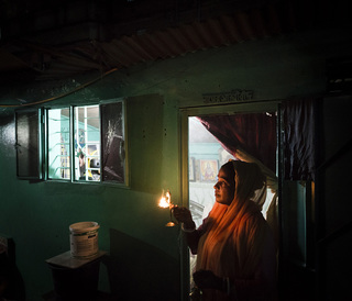 Every evening the residents hold processions in their homes in honor of their gods.